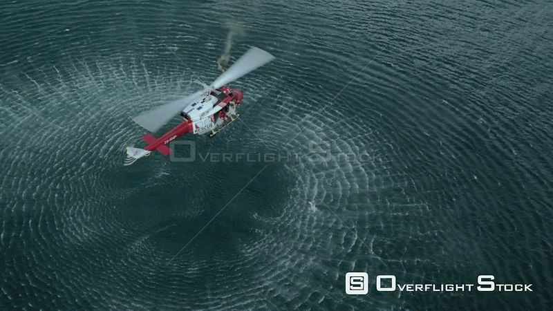 Aerial of a rescue helicopter hovering above the sea Cape Town Western Cape South Africa