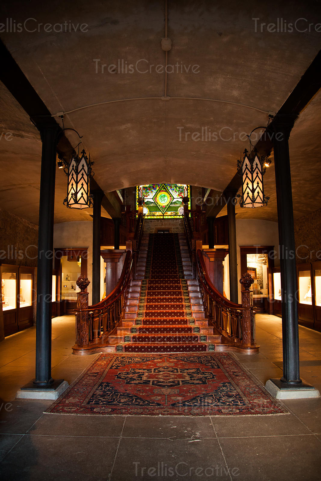 Grand staircase at the entrance to the historic Inglenook winery in Rutherford, Napa Valley