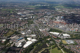 Oldham high level aerial photograph shot from the south looking from Alexandra Park towards the Oldham Way and the Oldham Tow...
