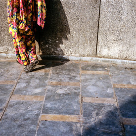 A woman's floral sari and a concrete wall, Palika Bazaar