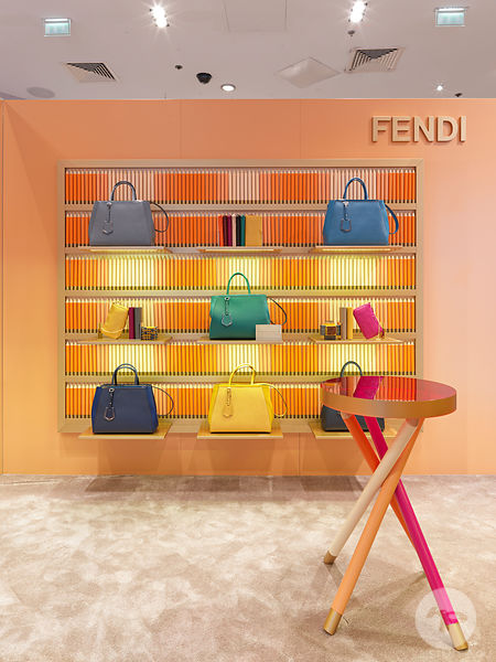 Retail architecture photographer, Fendi Crayon Collection Pop up store, Galeries Lafayette Paris, France - Photo ©Kristen Pelou.