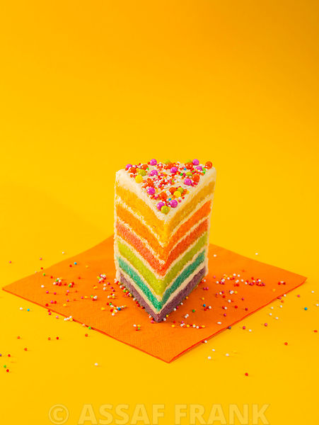 Cake on yellow background