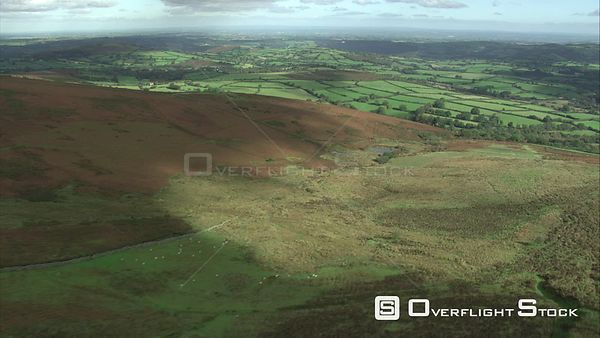 Aerial view of Coombe Down, Dartmoor National Park, Devon, England, UK, October 2015.