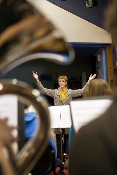 UK - Scunthorpe - Erica Hardy leader of the Second Concert Band of the Youth Concert Band leads rehearsals of Cycle Song at t...