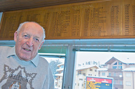 Cresta Rider Nino Bibbia of the SMTC Saint Moritz Tobogganing Club, Olympic Gold Medal Winner 1948 in Saint Moritz.