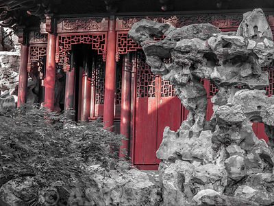 A part of pavilion hidden behind the rockery at Yu Garden Shanghai.