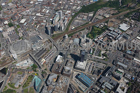 Manchester high level view looking down onto the NOMA regeneration and development area Angel Square Shudehill Angel Street M...