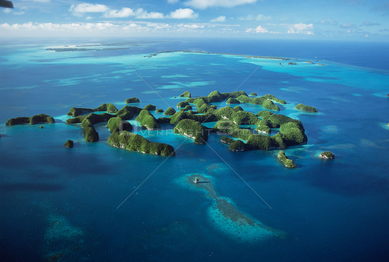 Aerial view of Seventy Islands, Palau, Micronesia