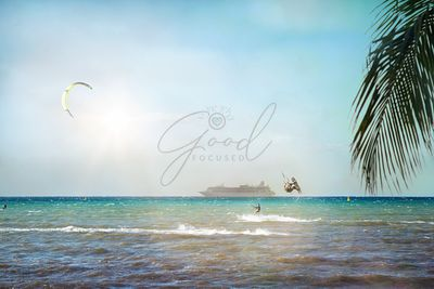 Kitesurfers and Cruise Ship on Caribbean Sea