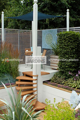 garden designer, Pergola, Stair, Terrace, tight cloth, Trellis, Contemporary Terrace, Digital, Silver spear