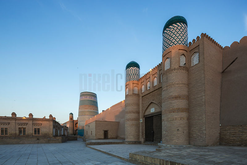 Kuhna Ark fortress and Kalta Minor Minaret at Sunrise