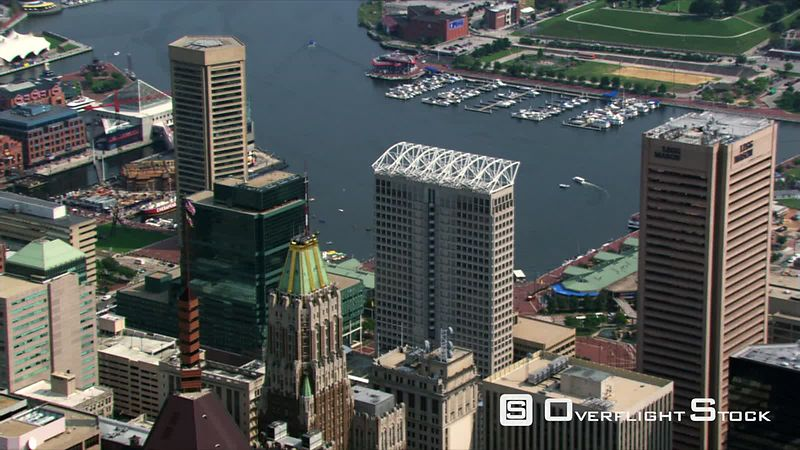 Flight over downtown Baltimore and Inner Harbor.