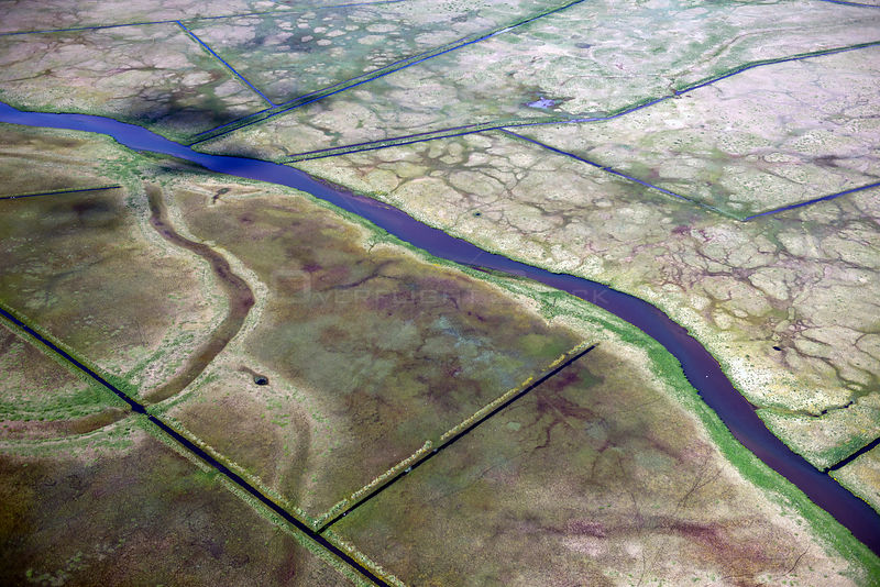 Aerial view of river and farmland, South West Iceland, June 2014.