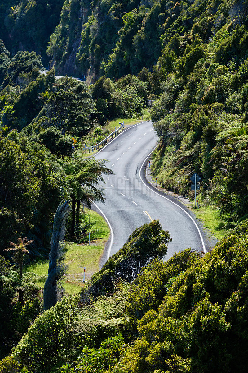 Winding Road Near Punakaiki, West Coast, New Zealand