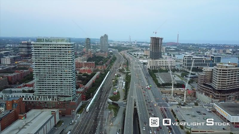 Gardiner Expressway and Commuter Train  Drone Video DowntownToronto Ontario Canada