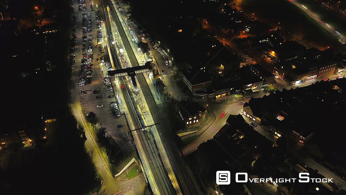 Night Time Lapse of a Commuter Train Station in Harpenden UK
