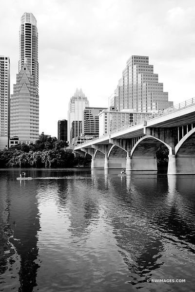 AUSTIN LAKE AUSTIN TEXAS SKYLINE BLACK AND WHITE VERTICAL