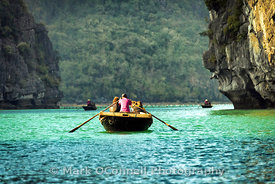 Rowing through Halong Bay Vietnam