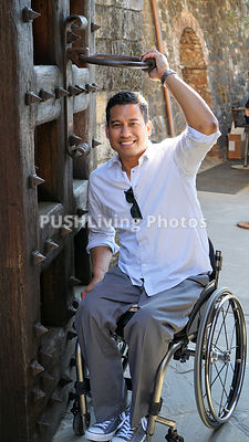 Man using a wheelchair on holiday in Italy