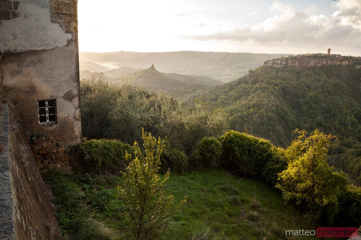 Green valley near Civita di Bagnoregio at sunrise
