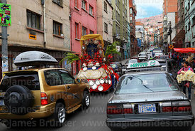 Decorated car driving through street on Good Friday, La Paz, Bolivia