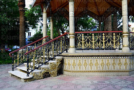 Detail of base and steps of bandstand in main square, Tarija, Bolivia