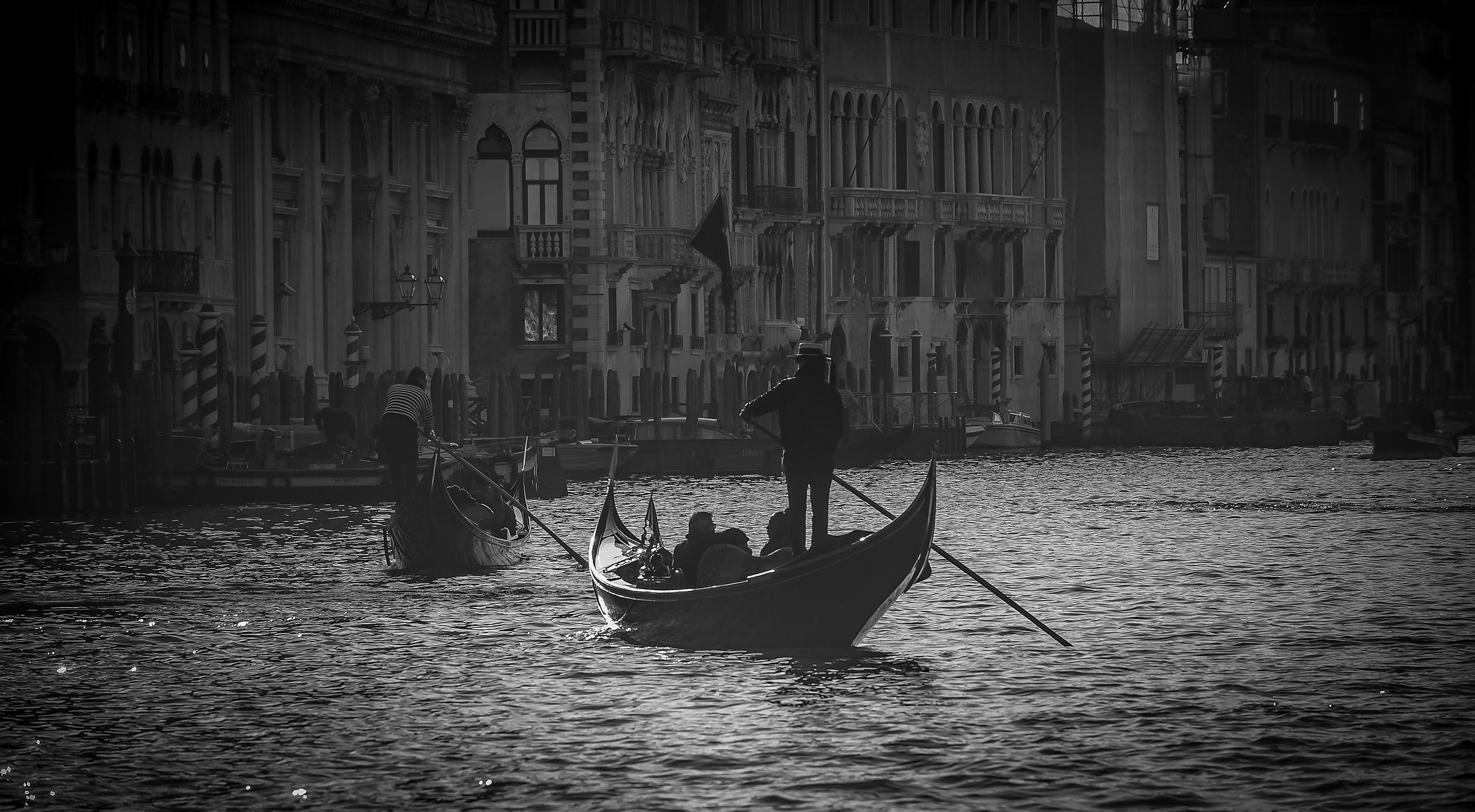 Gondolas on the Grand Canal, Venice - black & white