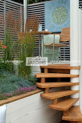 Aromatic plant, Garden chair, garden designer, Garden furniture, Garden table, Stair, Terrace, Thyme, Trellis, Contemporary Terrace, Digital, Grasses