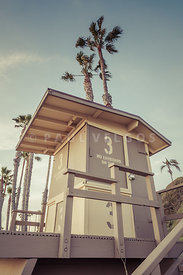 San Clemente Lifeguard Tower Three Retro Photo