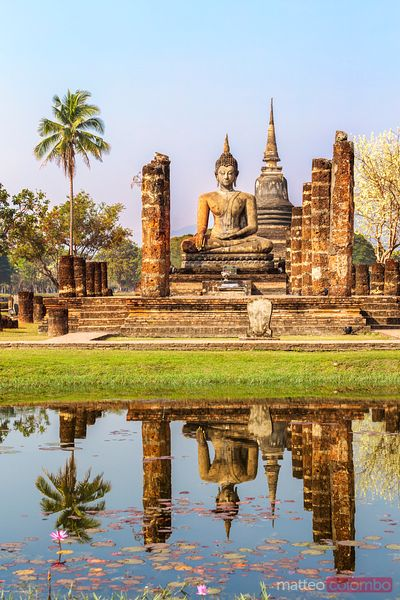Wat Mahathat temple at sunrise, Sukhothai, Thailand