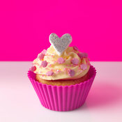Cupcake with heart shaped decoration