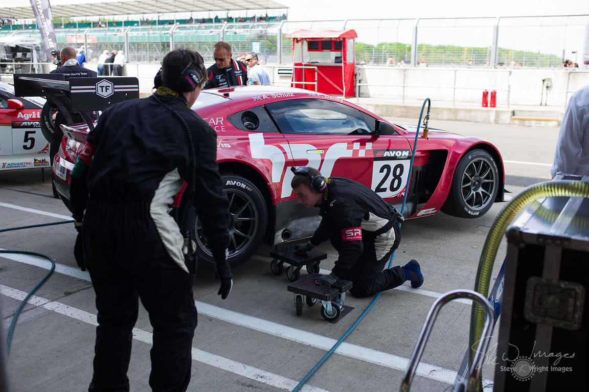 Horsepower Racing's Aston Martin Vantage GT3 in the pits, pre-race, at the Silverstone 500 - the third round of the British G...