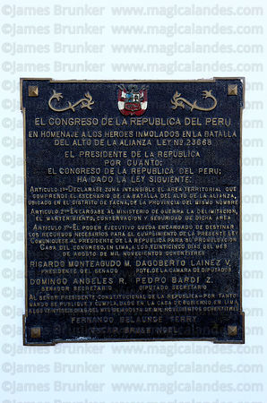 Plaque from Peruvian Congress honouring soldiers who died on monument at site of the Battle of Alto de la Alianza , near Tacn...