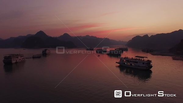 Group of Cruise Ships Ha Long Bay Sunset Vietnam