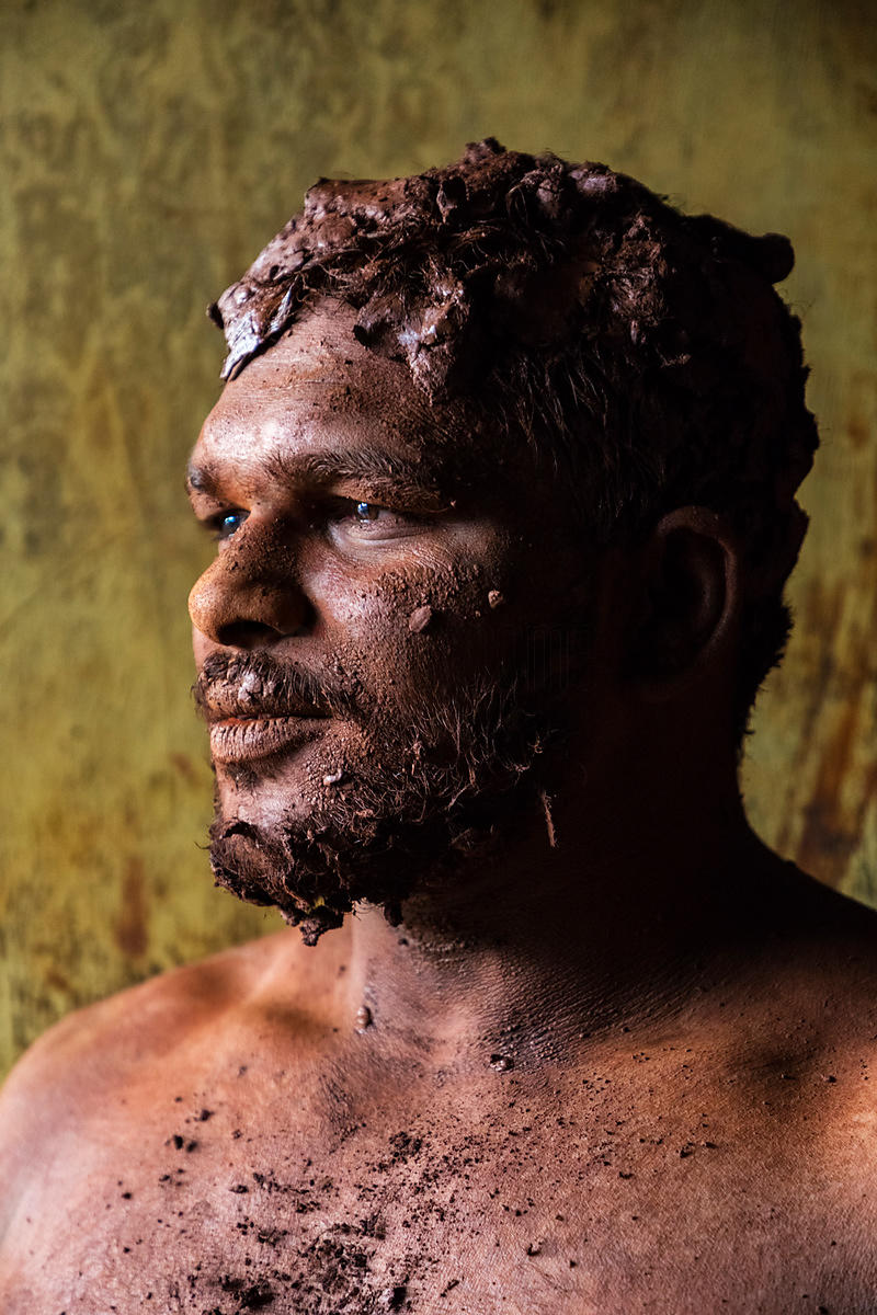 Portrait of a Kushti Wrestler Covered with Mud at Shahji Gungabis Taleem