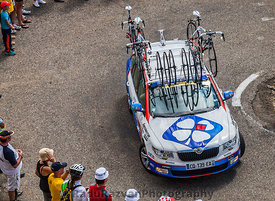 Lotto Belisol Team Technical Car in Pyrenees Mountains