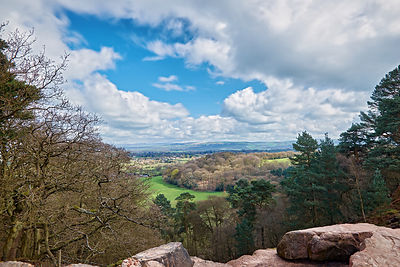 The view from Alderly edge across the countryside