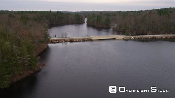 Flying Over Bridge on Lake in Western Rhode Island. Shot in November