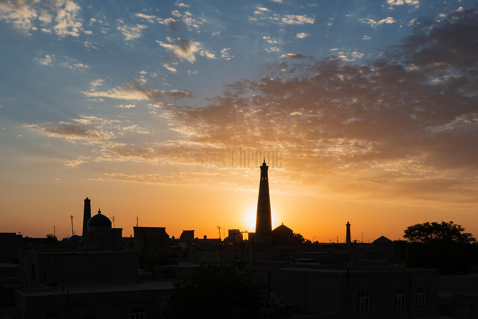 Sunrise from the Western Wall of the Old City of Khiva