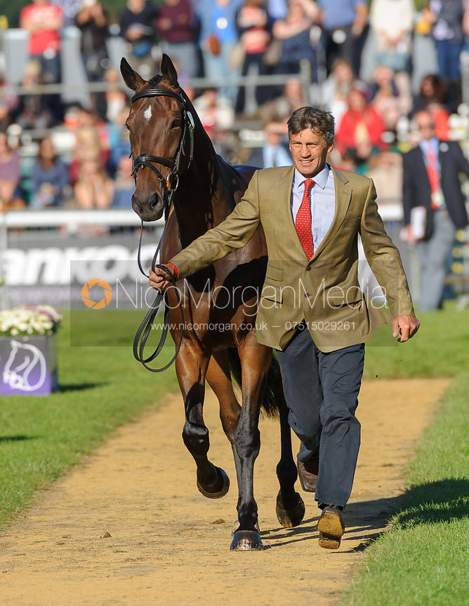 Andrew Nicholson and CALICO JOE - The final vets inspection (trot up),  Land Rover Burghley Horse Trials, 8th September 2013.
