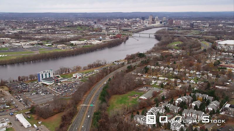 Approaching Hartford, Connecticut. Shot in November