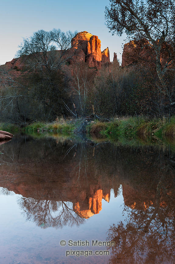 Cathedral Rock and Reflection in Oak Creek, Sedona, CA, USA