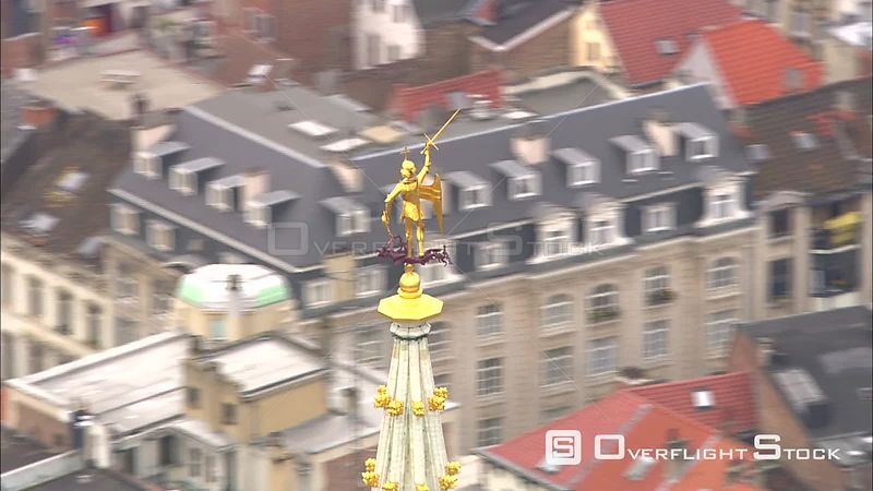 Flying past the top of City Hall in the Grand Place, Brussels