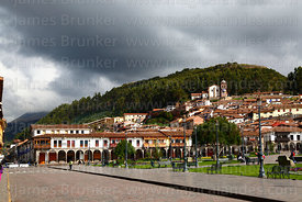 View of Plaza de Armas, San Cristobal church in background, Cusco, Peru