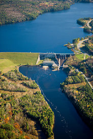 Aerial view of the Moore Dam and Moore Reservoir on the Connecticut River in Littleton, New Hampshire, USA, October 2007