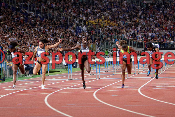 2012 Rome Golden Gala - Rome Diamond League 100 Metres Hurdles - W. Dawn Harper USA 12.66 sec. wins the race 2nd place Kellie...