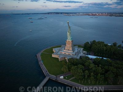 Aerial photo of the Statue of Liberty