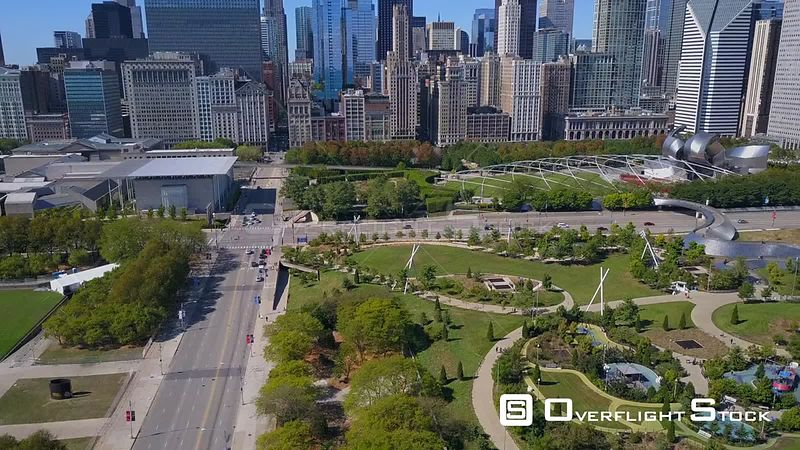 Millenium Park Drone Video Downtown Chicago Illinois USA