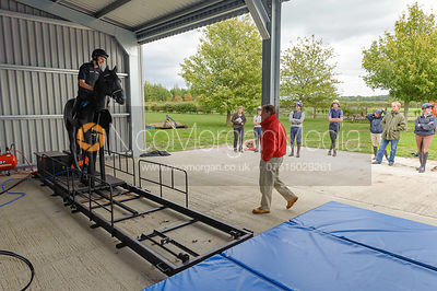 Rider learns how to fall using equishoot at British Racing School