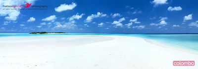 Panorama of deserted sandy beach and island, Maldives
